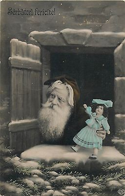 Vintage-tinted-Romania-Father-Christmas-Santa-Claus-Doll-Toy-Window-Fantasy