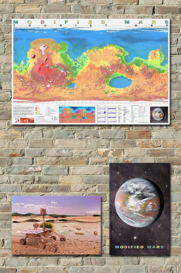 MODIFIED MARS ON THE WALL - Several works from the Modified Mars giftshop, showcase of the best souvenirs from your trip to Mars. Worldwide delivery of posters, clothing, mugs, stickers and other Marschandise.