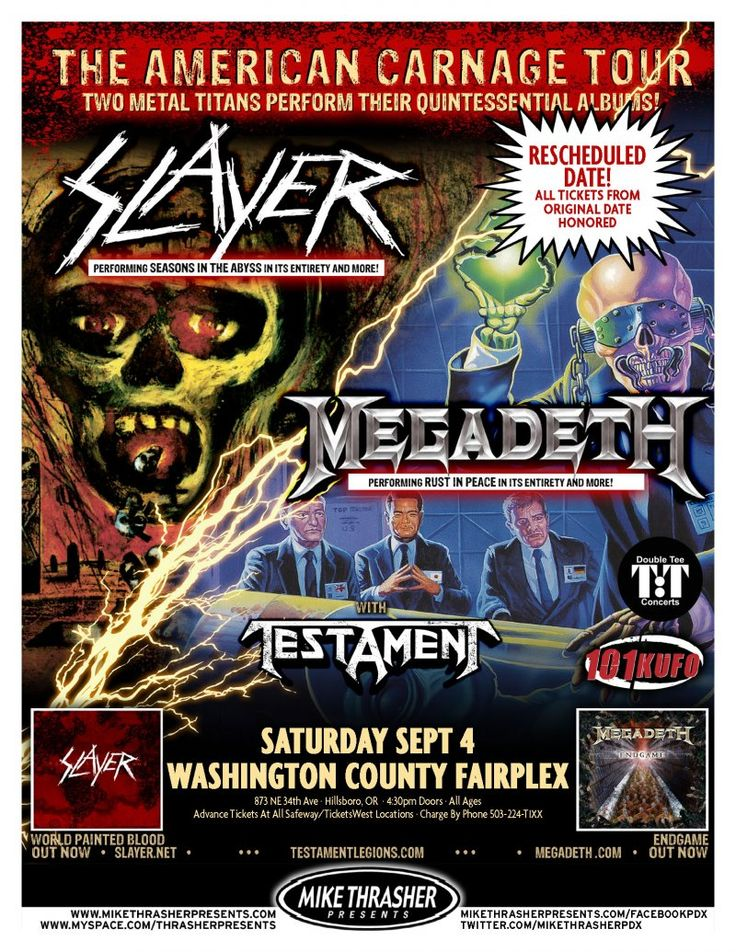 Music Posters - Posters Rock/Pop Gig Q-Z - SLAYER & MEGADETH 2010 Gig POSTER Hillsboro Oregon Concert American Carnage Tour