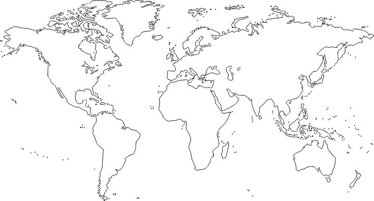 Black and white World map for colouring