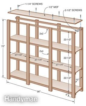 Easy build it yourself shelves. Build to the size of your boxes or storage containers. Just need plywood, 2x4s and 2x2s.