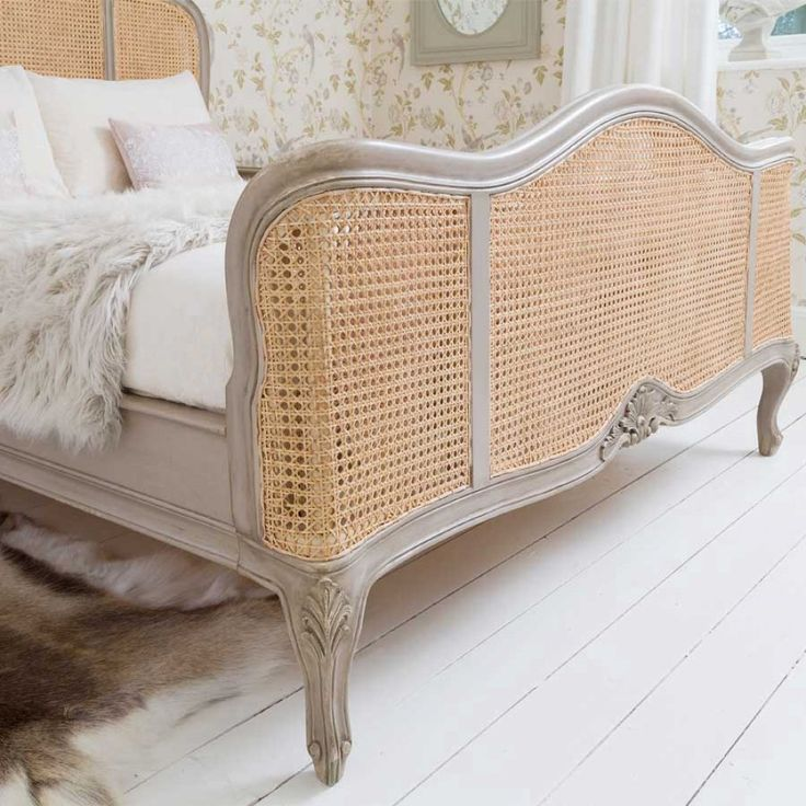 Normandy Rattan Painted Luxury French Bed by The French Bedroom Company, for old fashioned glamour and elegance.