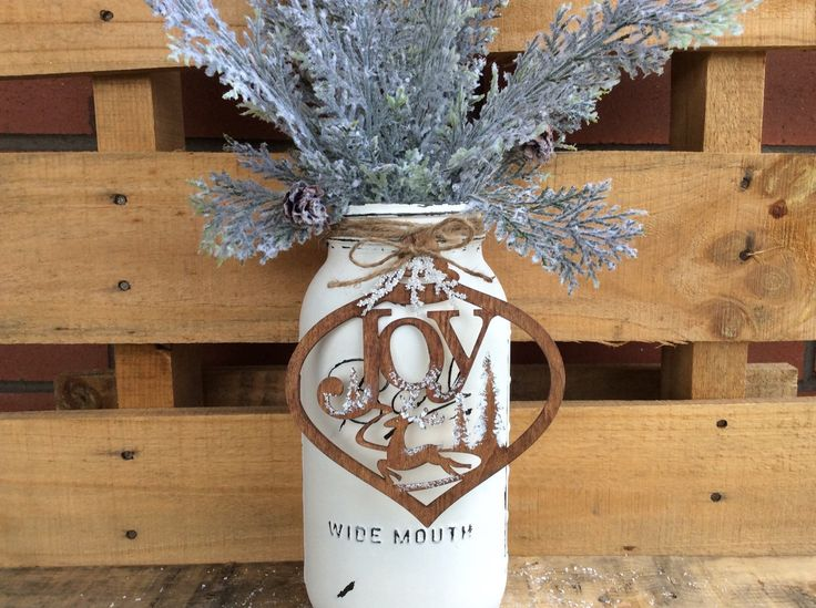 Painted Mason Jar. 1/2 Gallon Distressed Mason Jar. Christmas Decor. Vase. Gift. Rustic Centerpiece. Tree Ornament. Wood Ornament. Container by WineCountryAccents on Etsy