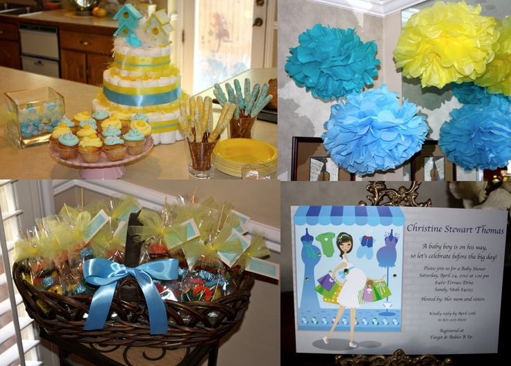 best blue baby shower ideas images on   baby shower, Baby shower