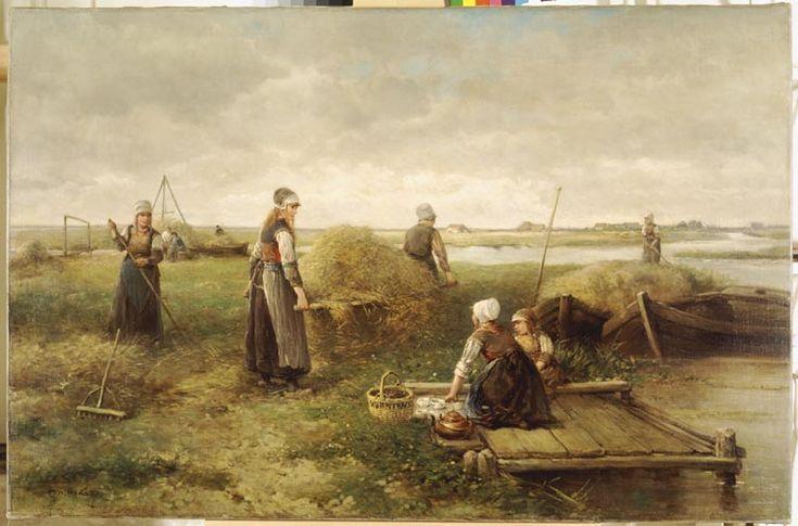 Hooitijd op Marken 1870 maker: Kate, Johan Mari Henri (Mari) ten (1831-1910) Tot ongeveer 1875 vormde het leven op het eiland Marken een geliefd onderwerp voor kunstenaars. Vooral de eenvoud van de vissersbevolking sprak tot de verbeelding. Het was op Marken gebruikelijk dat de vrouwen hooiden: de Marken mannen waren vissers en dus op zee. #NoordHolland #Marken