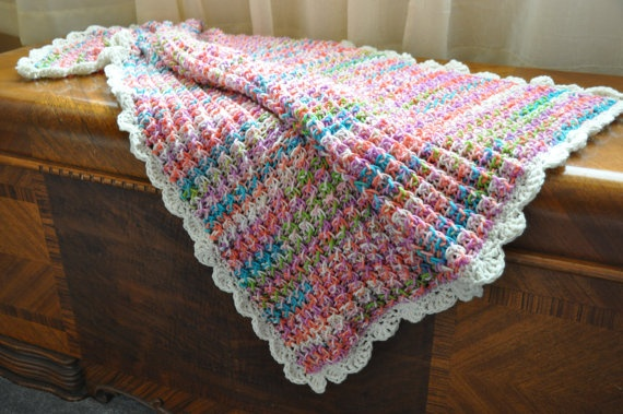 Hand knitted baby blanket sherbet colors with by StampsnStitches, $40.00