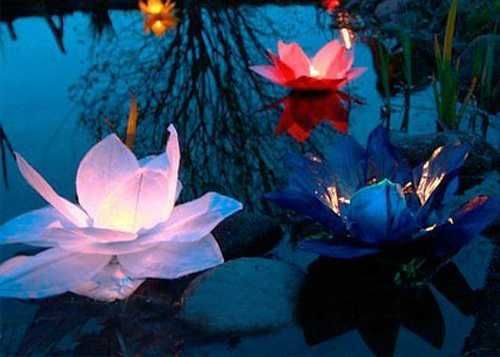 Water Lily Floating Lights Adding Romantic Accents to Decorating, Paper Craft Ideas