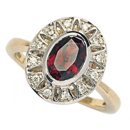 9ct Garnet & Diamond Ring. gerrim.com