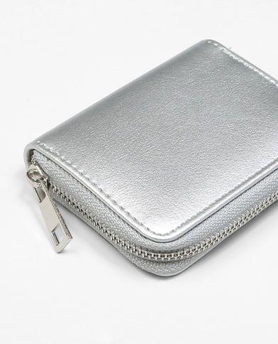 Petit porte monnaie gris argenté