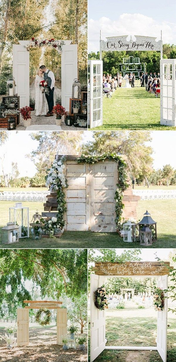 20 Rustic Outdoor Wedding Ceremony Entrance Ideas With Old Doors On A Budget Weddings Decorations Photo Walls