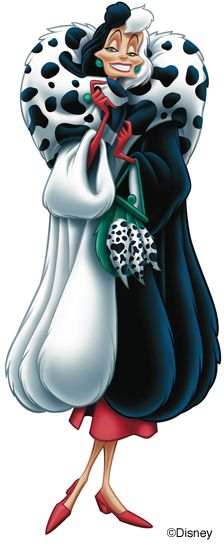 Cruella de Vil --- is a fictional character and the iconic villain of Dodie Smith's 1956 novel The Hundred and One Dalmatians, Disney's 1961 animated film adaptation One Hundred and One Dalmatians, and Disney's live-action film adaptations 101 Dalmatians and 102 Dalmatians.