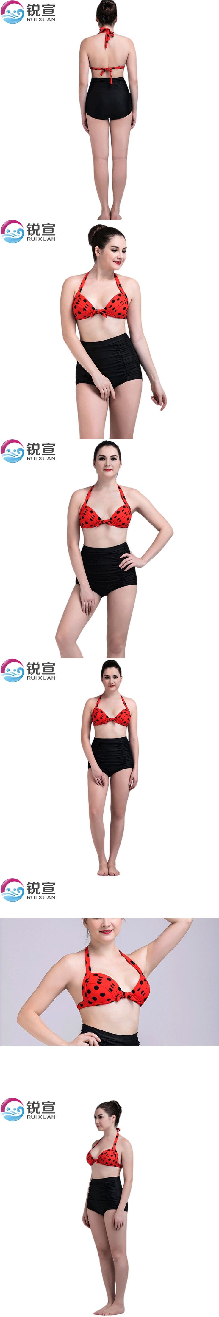 summer XXXL high waist bikini 2017 red large cup dot maillot de bain femme plus size swimwear bandage sexy swimsuit women 143