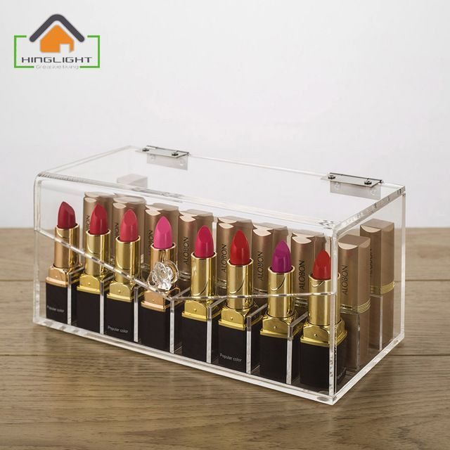 Acrylic Lipstick Storage Box (partition inside is removable) Cosmetic Organizer Acrylic Makeup Case Acrylic containers F007-3