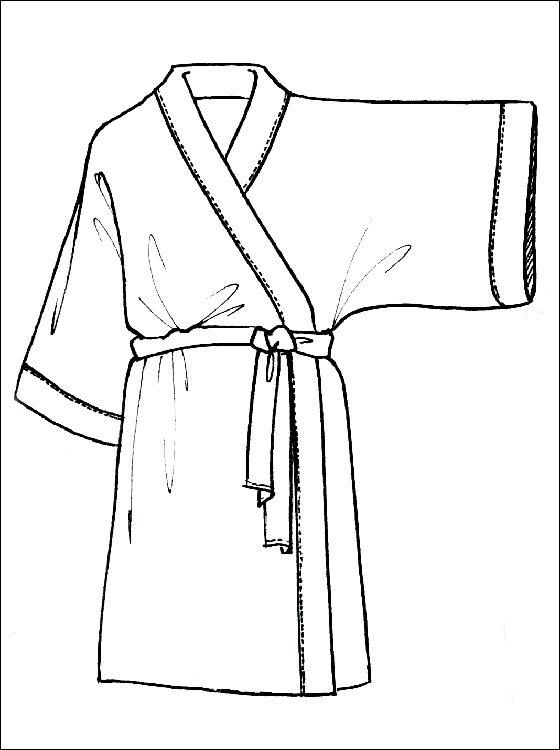 Kimono kleurplaat voor print | Gratis kleurplaten