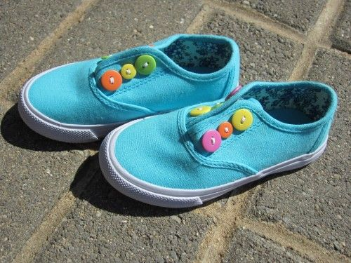 Replace shoelaces with buttons and elastic to make them easy to slip on (and cute!)