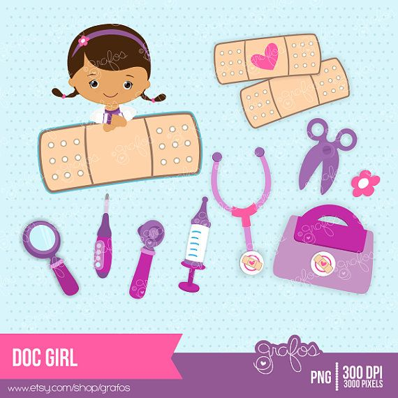 DOC GIRL - Digital Clipart Doc McStuffins / Personal and Commercial Use  / Instant Download