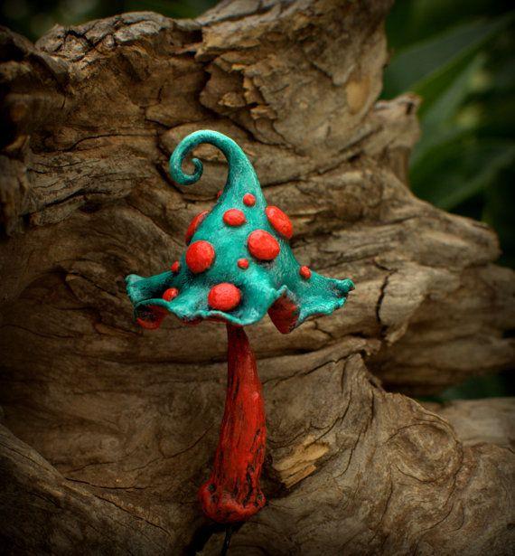 Greenish orange red Amanita  fantasy mushroom  ,polymer clay toadstool Home decor,Fairy Garden
