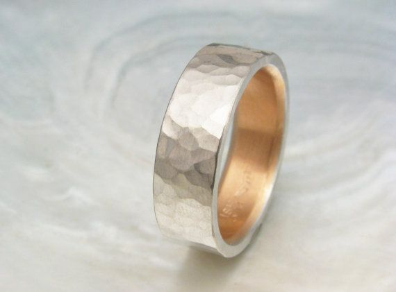 men's platinum wedding band -- 6mm comfort fit platinum wedding ring, hand hammered