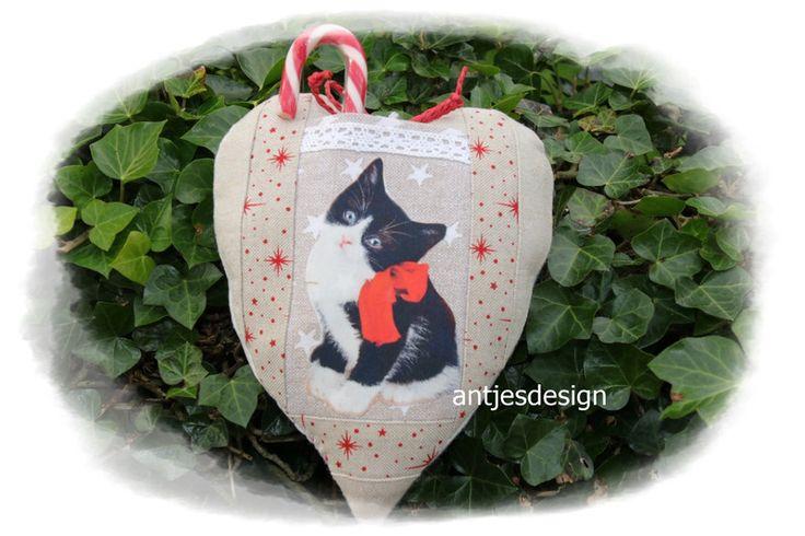 Gutscheine - Geldgeschenk Katzen - Weihnacht  - Herz beige/rot  - ein Designerstück von antjesdesign bei DaWanda