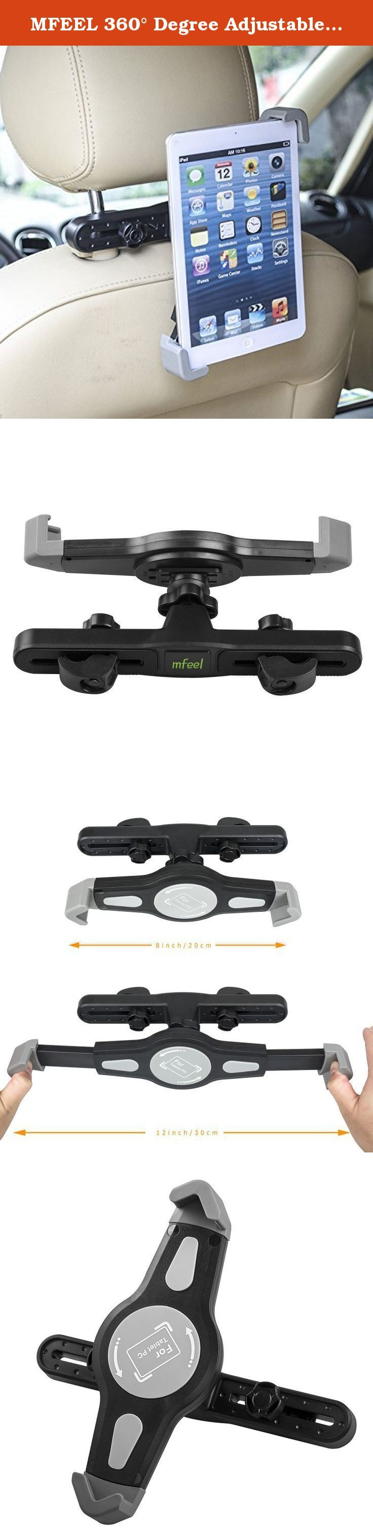 MFEEL 360° Degree Adjustable Rotating Headrest Car Seat Mount Holder for Apple iPad Air / iPad 4 / iPad 3 / iPad 2 / iPad Mini2 / iPad Mini and other Tablet PC GPS Car Headrest Mount Holder - Black. This MFEEL iPad Headrest Holder will make travelling with young children so much easier. -Simple and Easy To Fit to the car headrest and adjust for suitable viewing -Clip it for back on the car's pillow. -Access to all iPad Ports for charger and headphones. -Pocket on back of holder for cable...