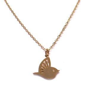 We love de korte vergulde ketting met een Lovebird