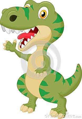 Mão de ondulação dos desenhos animados bonitos do tiranossauro