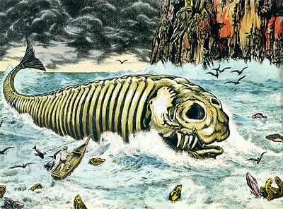 "Long ago, a mysterious sea creature known as the bake-kujira (""ghost whale"") used to appear at night in the waters around Shimane, Japan. It looked like the skeleton of a giant whale, and was usually accompanied by a flock of strange birds when it came drifting in with the tide. Later, when the tide started to recede, peculiar fish would become visible in the water around the monster. Fisherman trying to catch it claimed their harpoons passed through the creature as if it were not there."