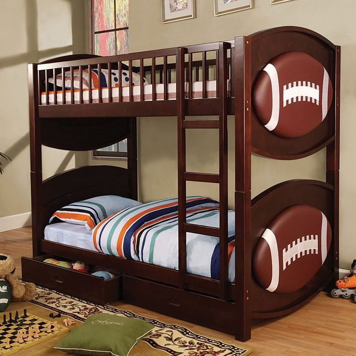 I want this! Furniture of America CM-BK065-FBLL-T Olympic Football Twin/Twin Bunk Bed, Espresso