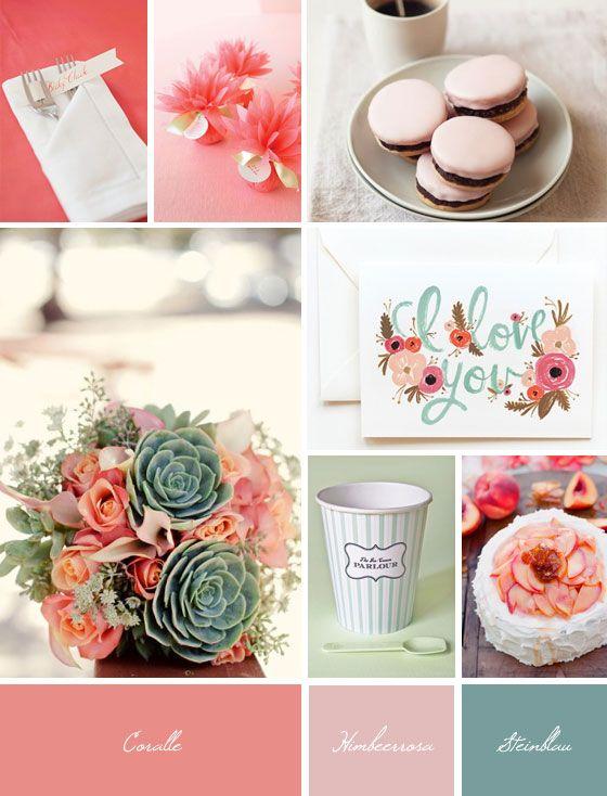 Ideaboard: Coralle und Steinblau | Hochzeitsblog Fräulein K. Sagt Ja