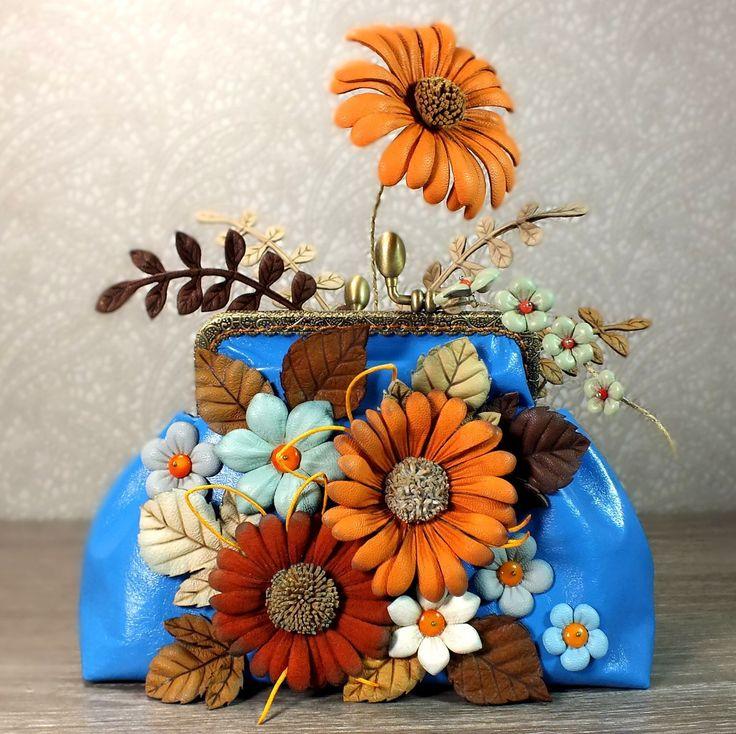 Купить Косметичка или мини-сумка из натуральной кожи. Ромашковая Долина - комбинированный, цветочный, косметичка
