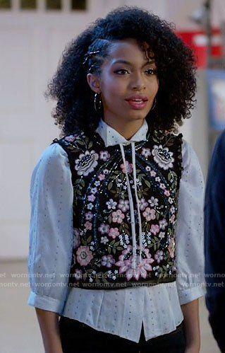 Zoey's black embellished crop top on Black-ish