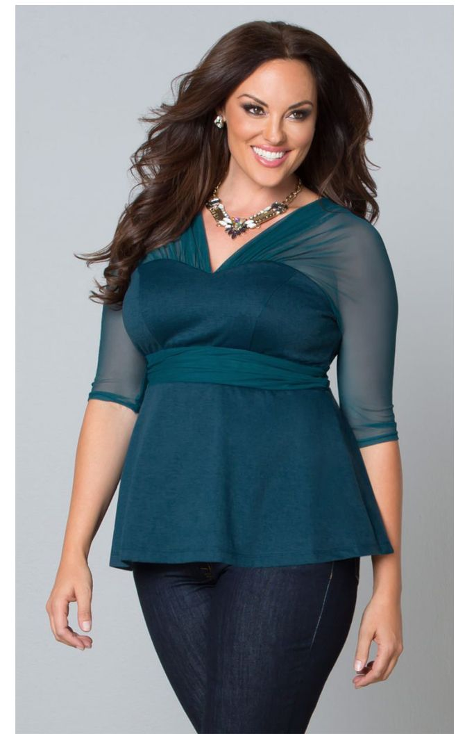 Pretty Peplum Mesh in Teal