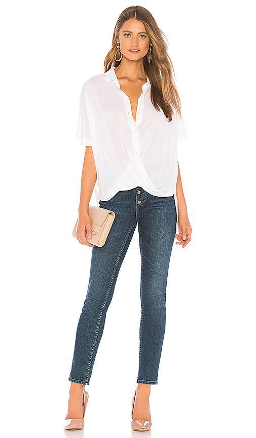 2d00c6aab5e Wrap Hem Dolman Sleeve Shirt in Optic White