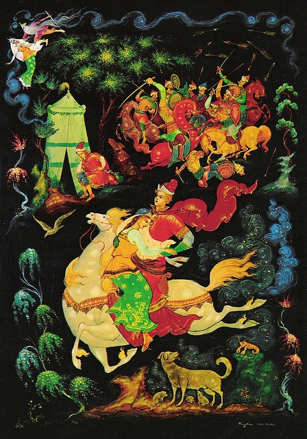 russian ancient art of Palekh - lacquer miniatures