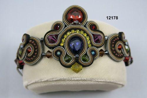 "Dori Csengeri/Handmade Designer BraceletSize: 2""W x 8""L  Leather/Silk Yarn/Stone Beads/Crystals  Handmade in Israel  Designer: Dori Csengeri $392"