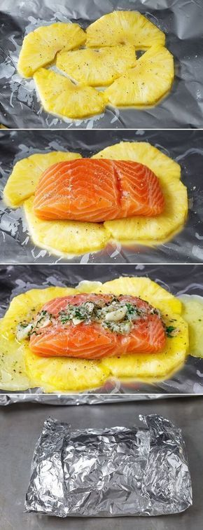 nice Lemon Garlic Butter Salmon in Foil with Pineapple