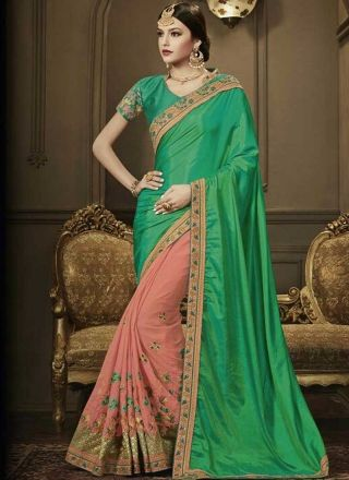 Green Pink Embroidery Work Georgette Silk Designer Wedding Half Sarees