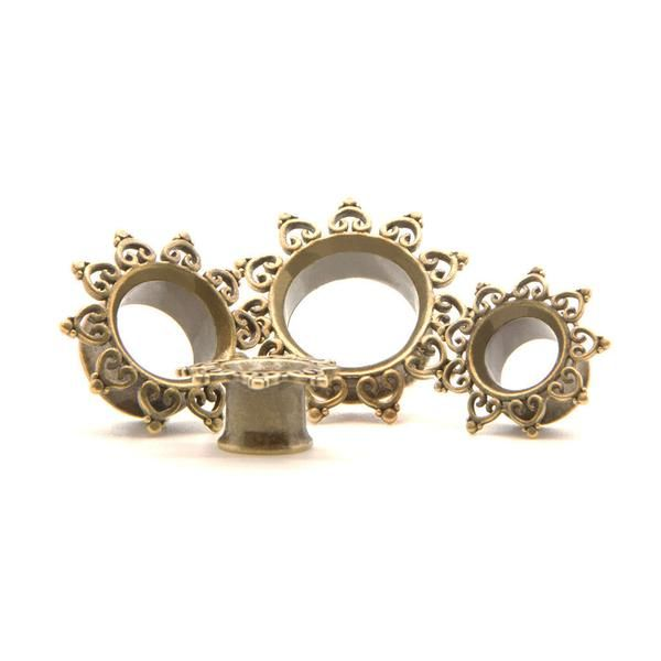 Brass Sun Tunnel   Plugs - Ear Gauges, Flesh Tunnels for Stretched Ears