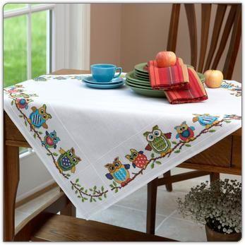 cross stitch owl tablecloth