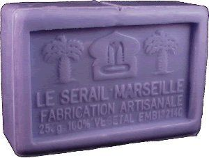 Savon de Marseille (Marseilles Soap) - Lavender Soap Bar 250g - Handcrafted pure French soap by Le Sérail Savon de Marseille. $10.00. Pure, gentle and naturally moisturizing. Free of sodium laureth/lauryl sulfate, phthalates, parabens, tallowate, synthetic fragrance or artificial coloring; 100% biodegradable; Not tested on animals. 80% palm and copra oils base, quadruple milled. Handmade by the last remaining traditional soapmaker in Marseilles - Savonnerie Le Sérail. Part of...