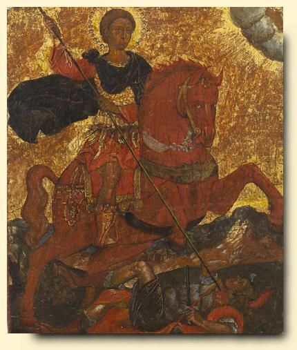 Saint Demetrios Slaying King Kaloyani - exhibited at the Temple Gallery, specialists in Russian icons