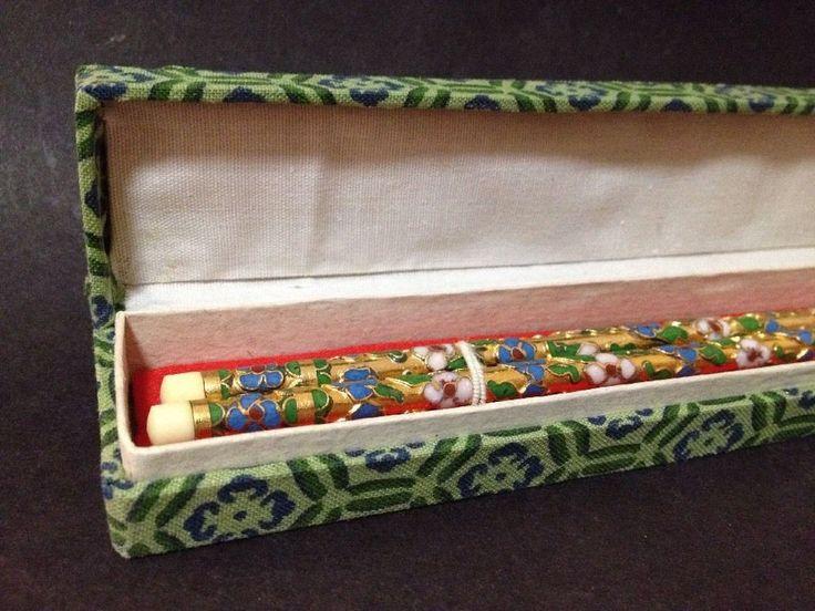Estate Find - Vintage? Ivorine and Cloisonne Chop Sticks w/ Box (Gold Pink Blue)