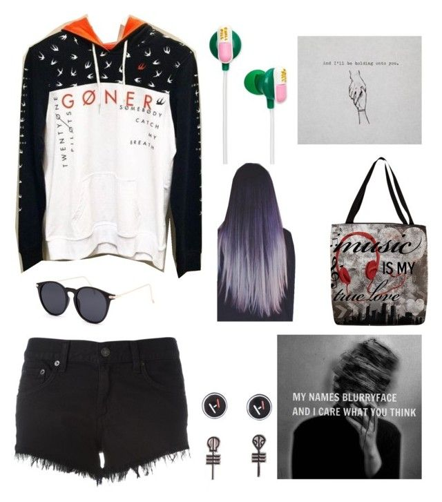 """""""Goner(s)"""" by bellhof ❤ liked on Polyvore featuring Hot Topic, Thumbprintz, ban.do, rag & bone/JEAN and Blue Crown"""
