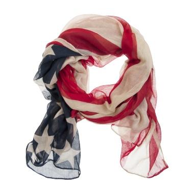 Sally shawl - Sjaal, amerikaanse vlag print    Materiaal: 100% polyester