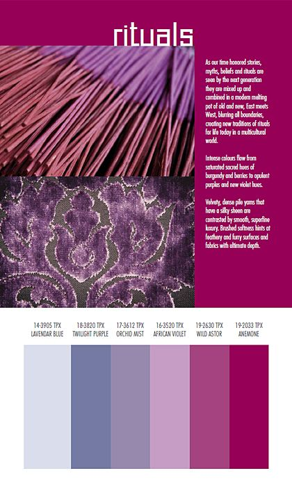 Purple 2015 Trends:  Autumn/Winter 2014/2015 Color and Textile Trends by Spin Expo