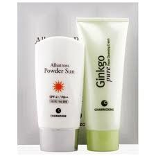 Korean Cosmetics_Charmzone Albatross Powder Sun Special Set by Charmzone Albatross. $27.99. Charmzone Albatross Powder Sun (spf 41, pa+++) can be used as a make-up base and it functions as a very effective sun screen during outdoor activities.. CAPACITY  Charmzone Albatross Powder Sun (spf 41, pa+++) - 70ml Charmzone Ginko Pure Foam Cleansing Cream - 100ml