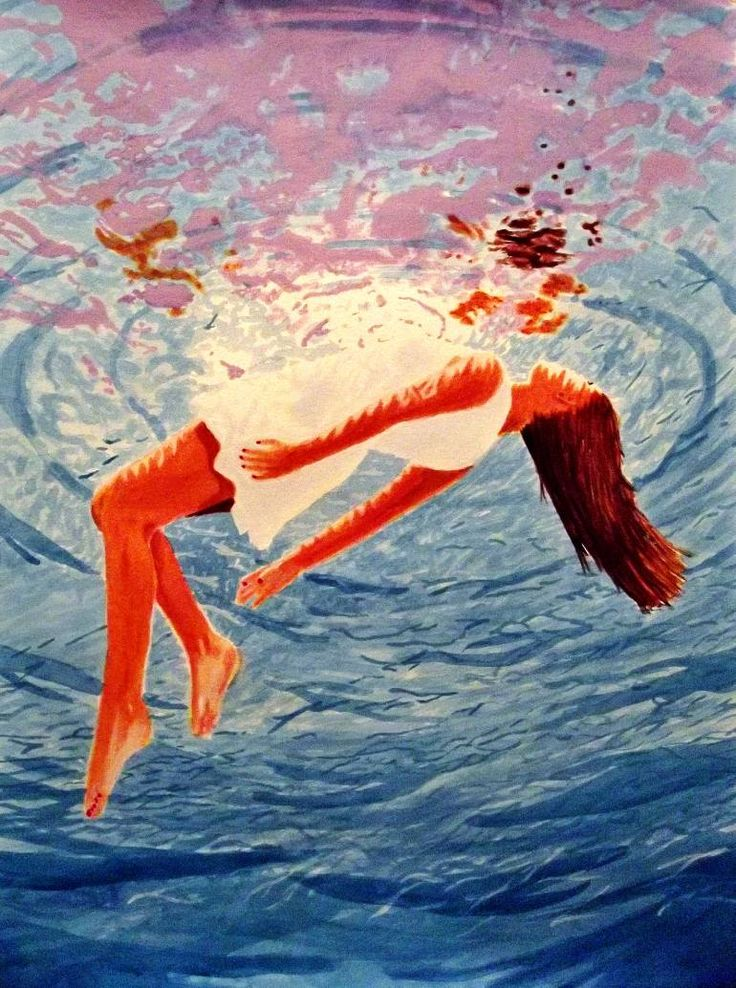 Buy Prints of Just Below the Surface(Sold), a Acrylic on Paper by Kyle Brock from United States. It portrays: Women, relevant to: reflection, swimming, underwater, woman, Kyle Brock, contemporary, ocean, original Signed, original Liquitex acrylic painting on 350gsm heavy watercolor paper