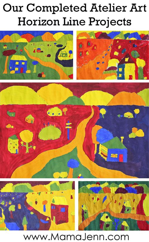 Atelier Homeschool Art Horizon Line Projects www.HomeSchoolArt.com