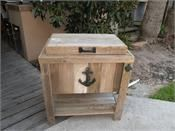 NEW Hand-Made, Weathered Wood Outdoor Igloo Ice Chest W/Black Nautical Anchor