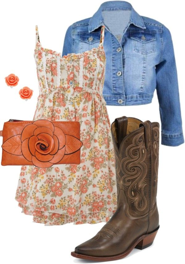 Country Outfitter Date Night.... I like the boots and jacket more than the dress.